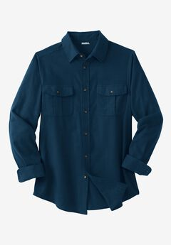 Solid Double-Brushed Flannel Shirt, NAVY