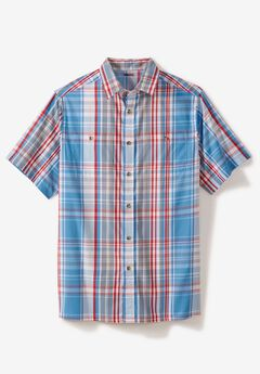 Short-Sleeve Plaid Sport Shirt, ATLANTIC PLAID