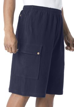 Gauze Cotton Cargo Shorts with Inside Drawstring, NAVY