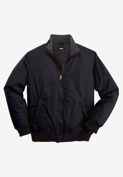 Fleece-Lined Bomber Jacket, BLACK