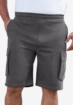 Elastic Waist Cargo Shorts, HEATHER SLATE, hi-res