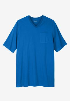 Longer-Length Lightweight V-neck Tee, ROYAL BLUE