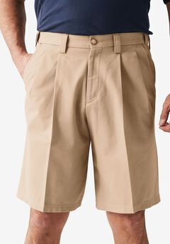 Classic Fit Wrinkle Free Expandable Waist Pleat Front Shorts, DARK KHAKI, hi-res