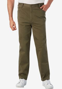 Relaxed Fit 5-Pocket Stretch Jeans by Liberty Blues®, OLIVE BRUSH