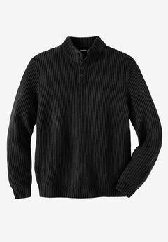 Henley Shaker Sweater, BLACK, hi-res
