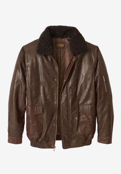 Leather Flight Bomber Jacket, BROWN, hi-res