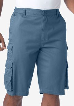 Ranger Side-Elastic Cargo Shorts by Boulder Creek®, SLATE BLUE, hi-res