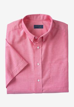 Wrinkle-Resistant Short-Sleeve Oxford Shirt by KS Signature®, RASPBERRY