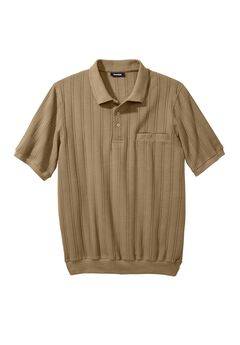 Banded Bottom Textured Polo Shirt,