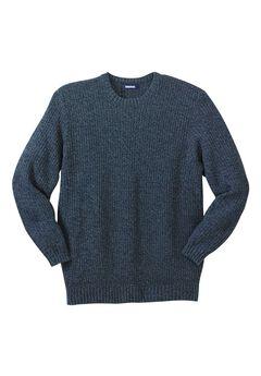 Shaker Knit Crewneck Sweater, NAVY MARL, hi-res