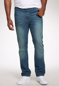 Straight Fit Side Elastic 5-Pocket Jeans by Liberty Blues®, BLUE WASH