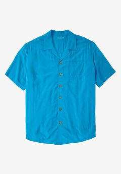 Solid Tropical Shirt by KS Island™, ELECTRIC TURQUOISE, hi-res