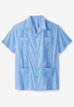 Short-Sleeve Guayabera Shirt by KS Island™, AZURE BLUE
