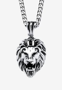 Lion's Head Pendant Necklace , , hi-res