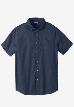 Shrink-Less™ Short-Sleeve Sport Shirt, NAVY, hi-res