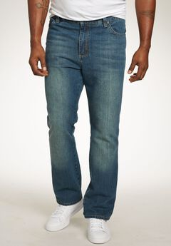 Relaxed Tapered Fit Side Elastic 5-Pocket Jeans by Liberty Blues®, BLUE WASH