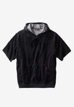 Velour Short-Sleeve Pullover Hoodie, BLACK