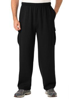 Fleece Cargo Pants, BLACK, hi-res