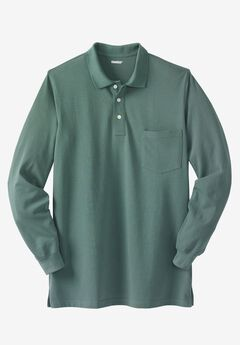 Longer-Length Long-Sleeve Piqué Polo,