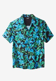 Tropical Caribbean Print Shirt by KS Island™, BRIGHT BLUE FLORAL, hi-res