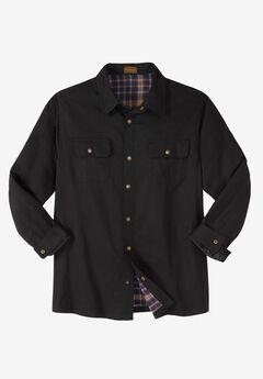 Flannel-Lined Twill Shirt Jacket by Boulder Creek®, BLACK, hi-res
