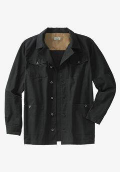 Duck Weave Canvas Barn Shirt Jacket by Liberty Blues®, BLACK, hi-res