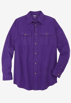 Solid Double-Brushed Flannel Shirt, LILAC, hi-res