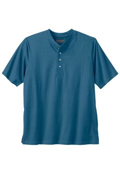 Heavyweight Short-Sleeve Henley Shirt by Boulder Creek®, HEATHER NAVY, hi-res