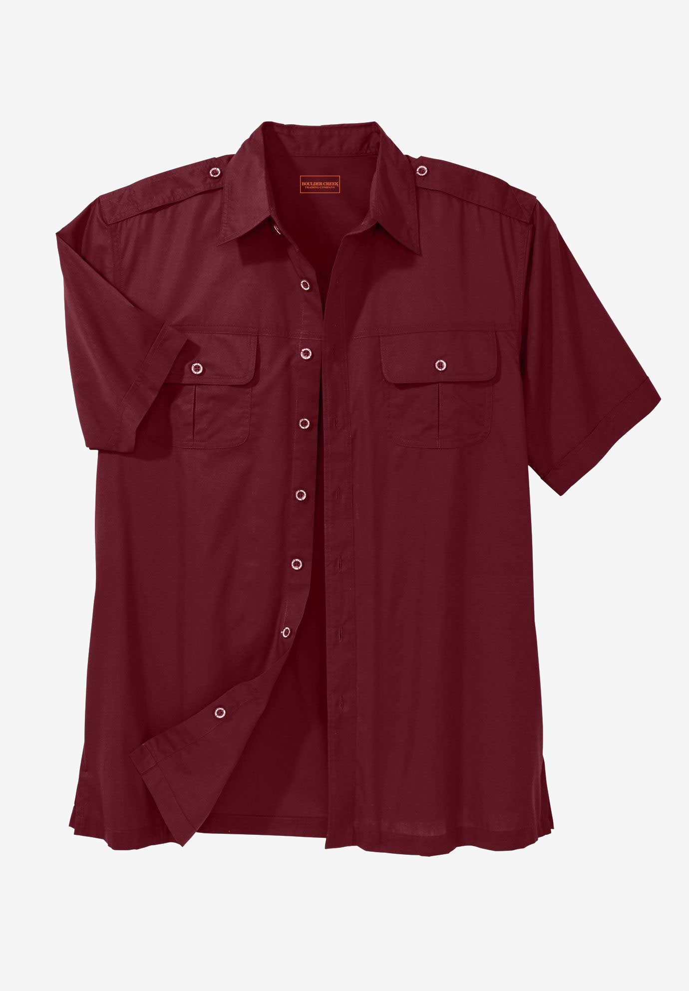 Short Sleeve Pilot Shirt by Boulder Creek®, RICH BURGUNDY, hi-res