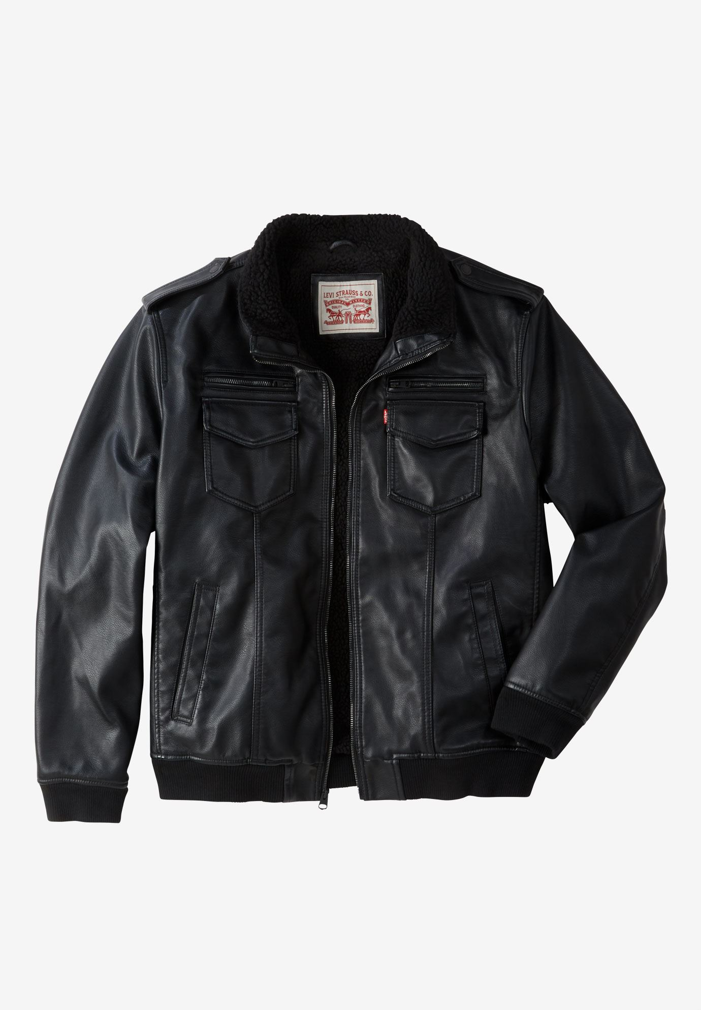 Faux Leather Sherpa Lined Aviator Bomber Jacket By Levi S