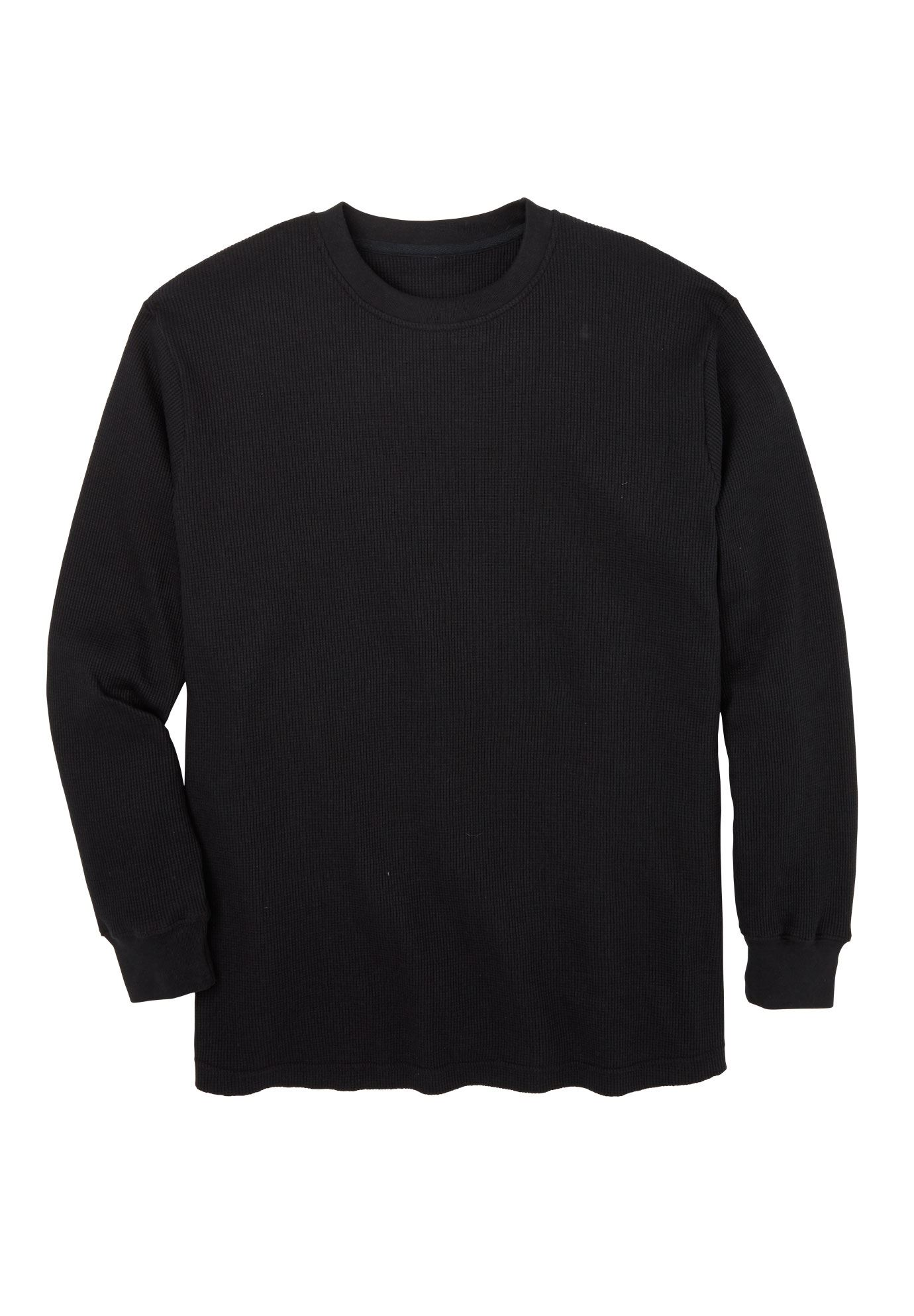Heavyweight Waffle Knit Crewneck Tee by Boulder Creek®, BLACK, hi-res