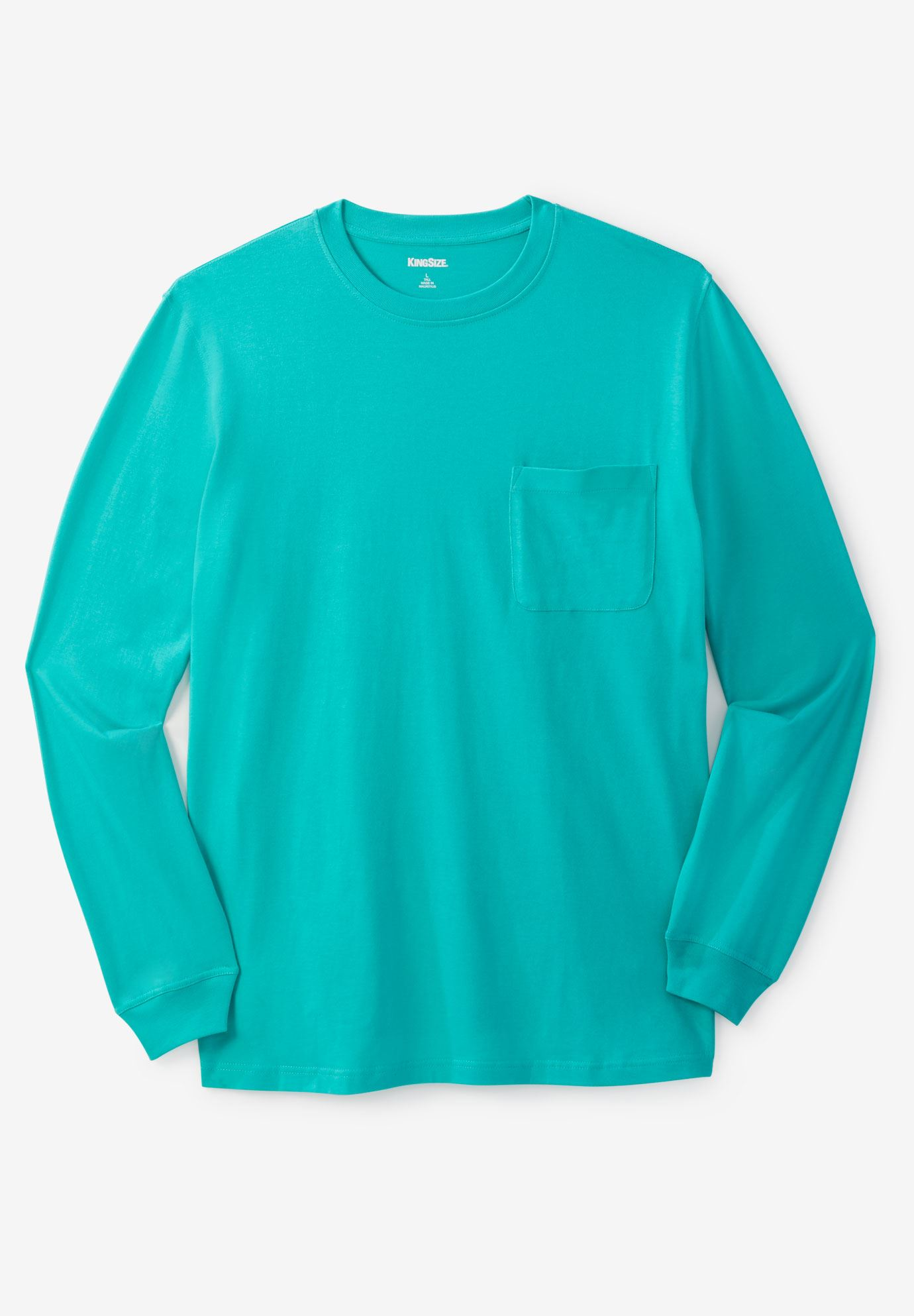 Shrink-Less™ Lightweight Long-Sleeve Crewneck Pocket Tee,