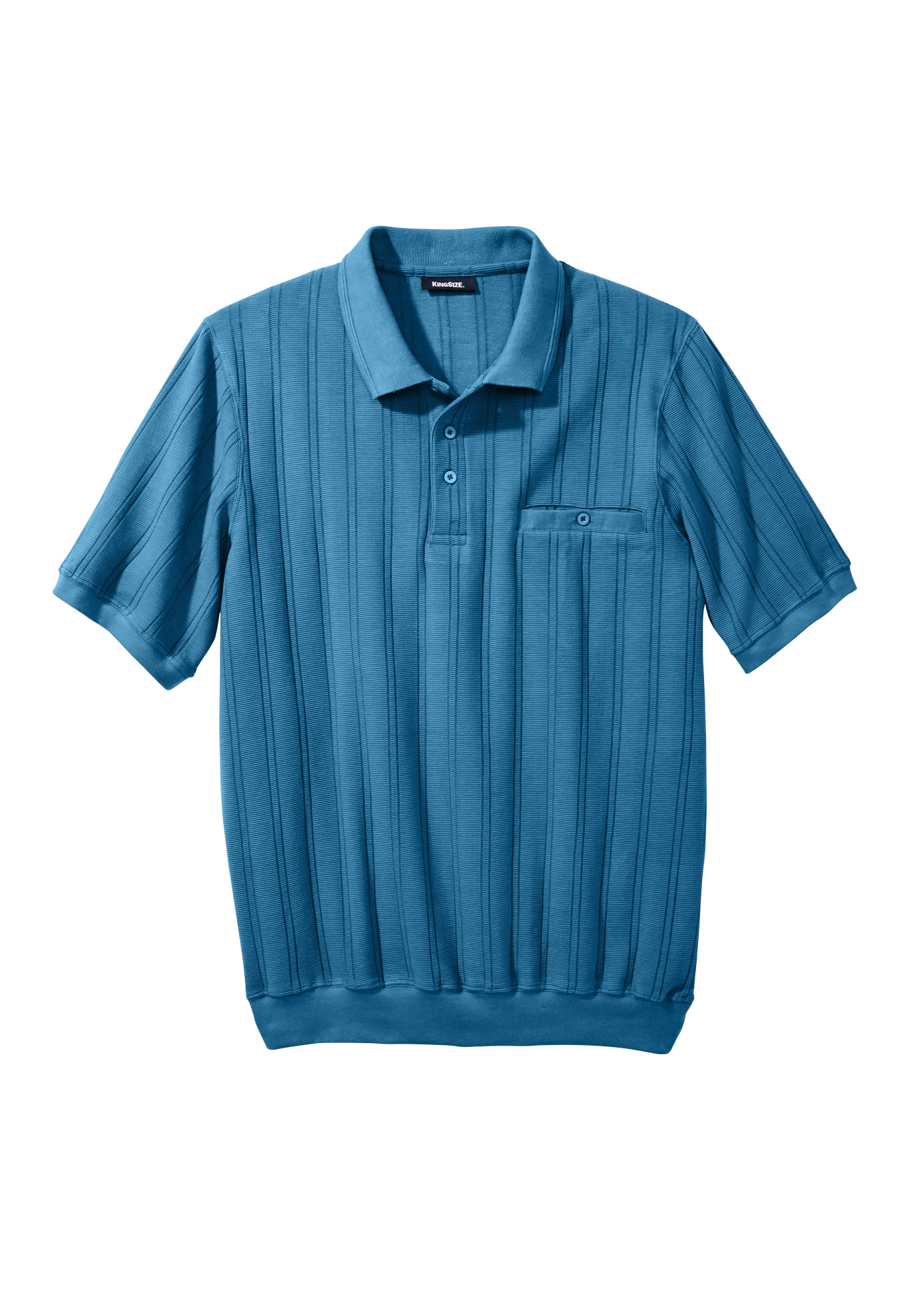 Banded Bottom Textured Polo Shirt Plus Size Polos King Size