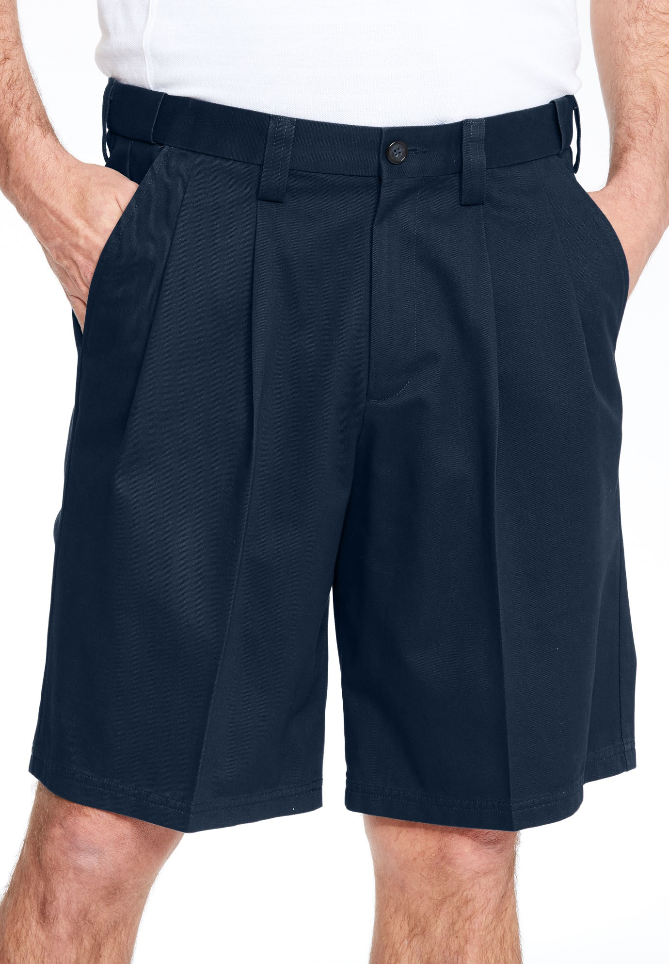 Classic Fit Wrinkle Free Expandable Waist Pleat Front Shorts,
