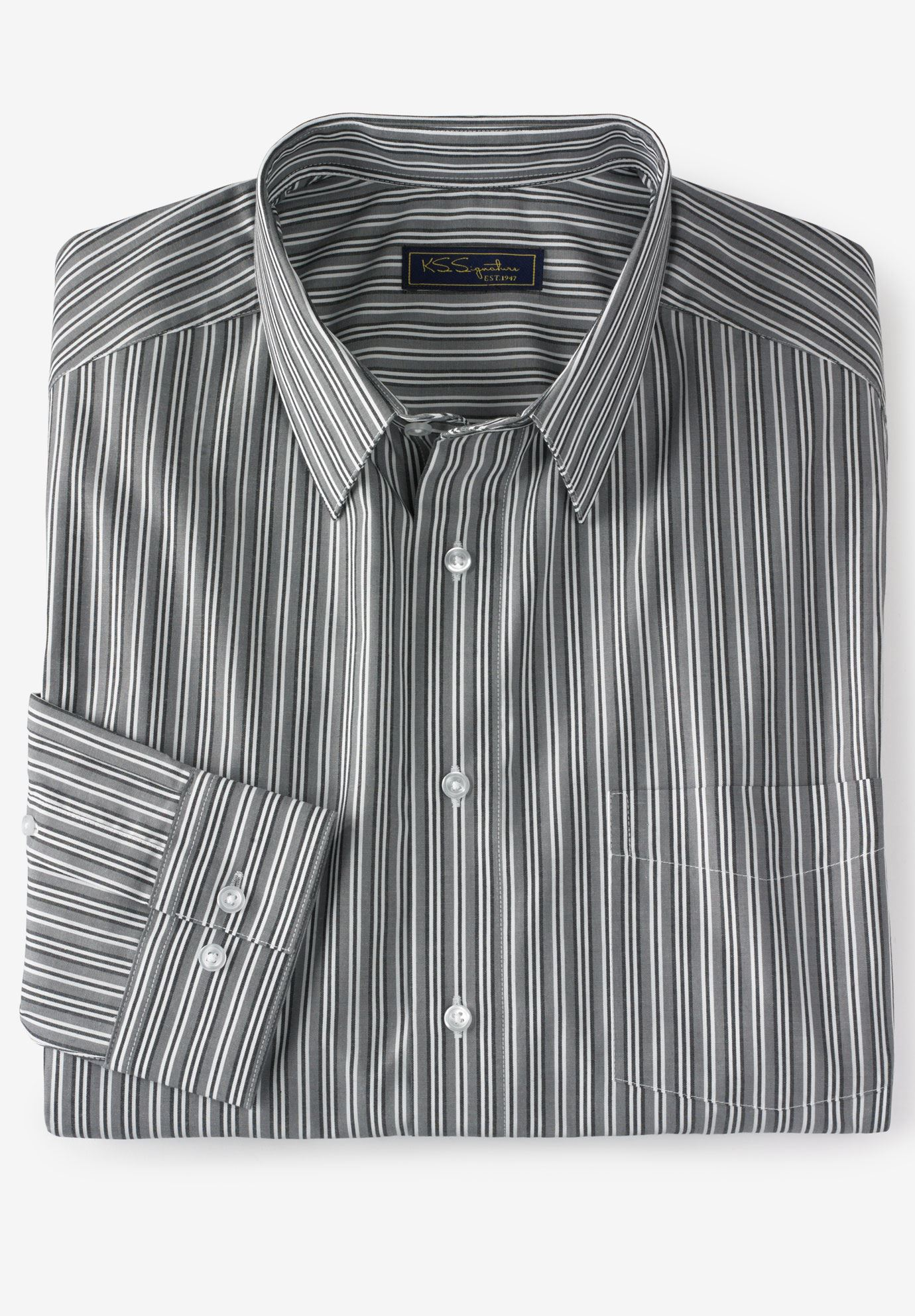 No Hassle® Long-Sleeve Dress Shirt by KS Signature®,