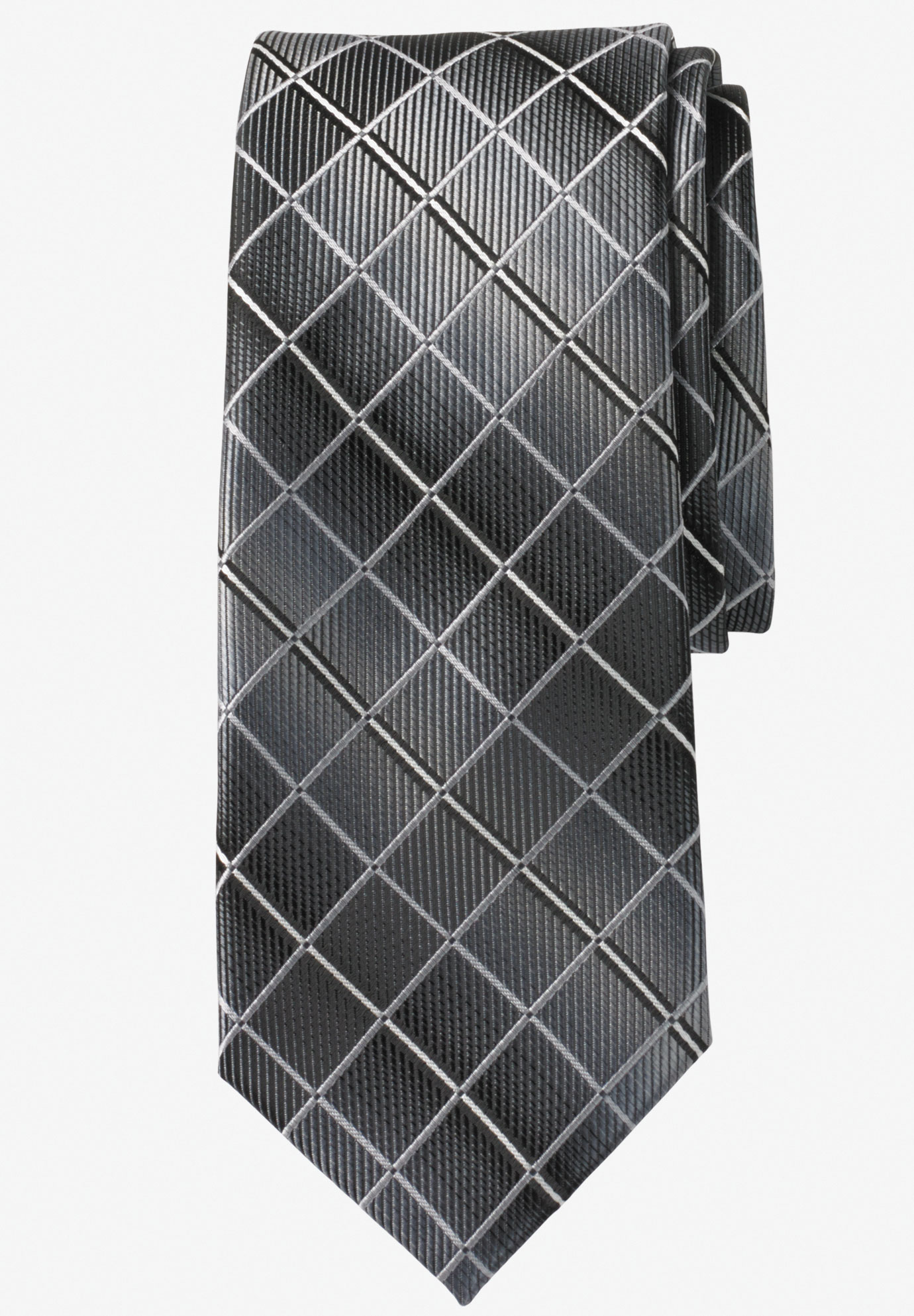 Extra Long Check Tie by KS Signature, BLACK CHECK