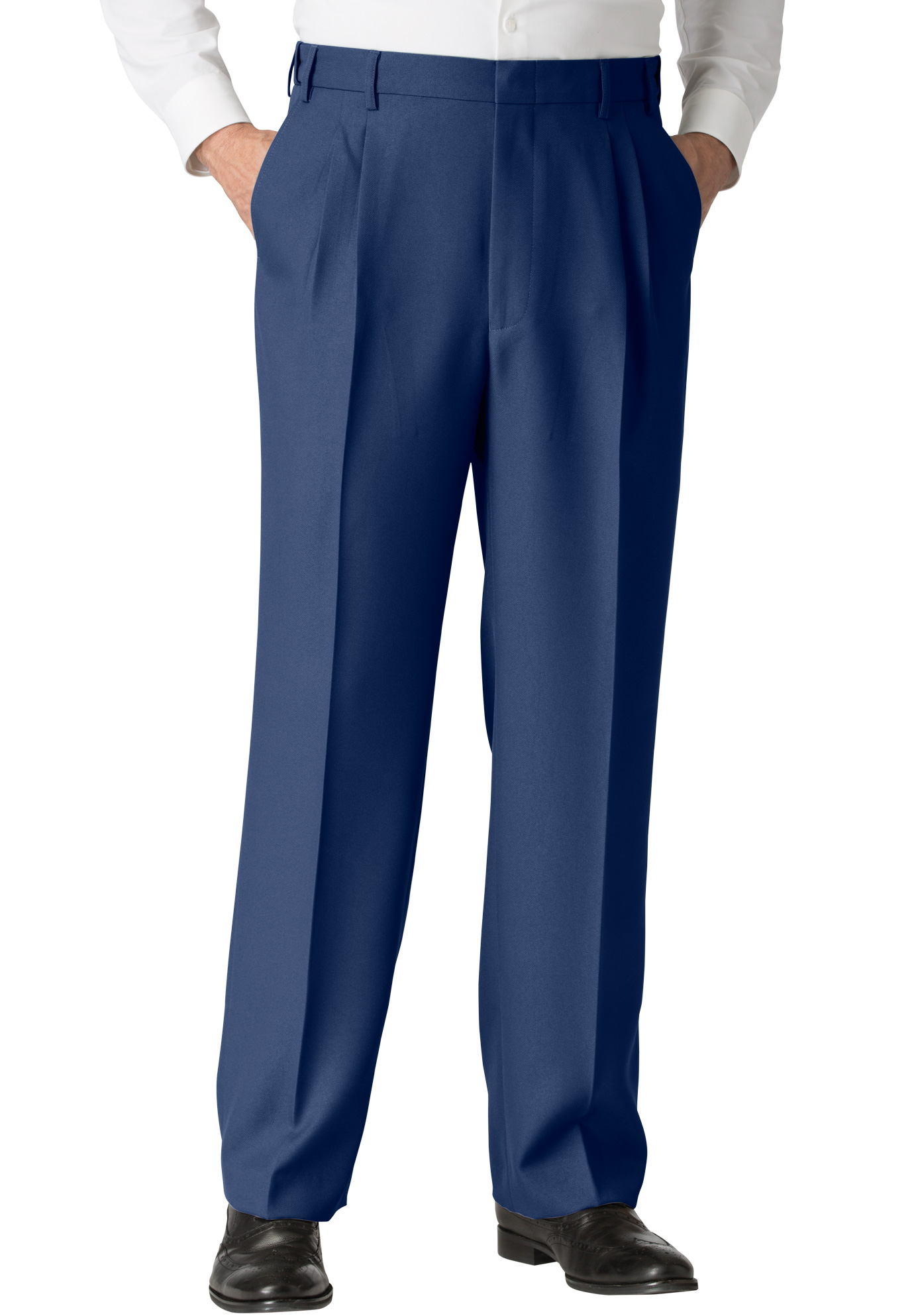 Easy-Care Classic Fit Expandable Waist Double-Pleat Front Dress Pants,