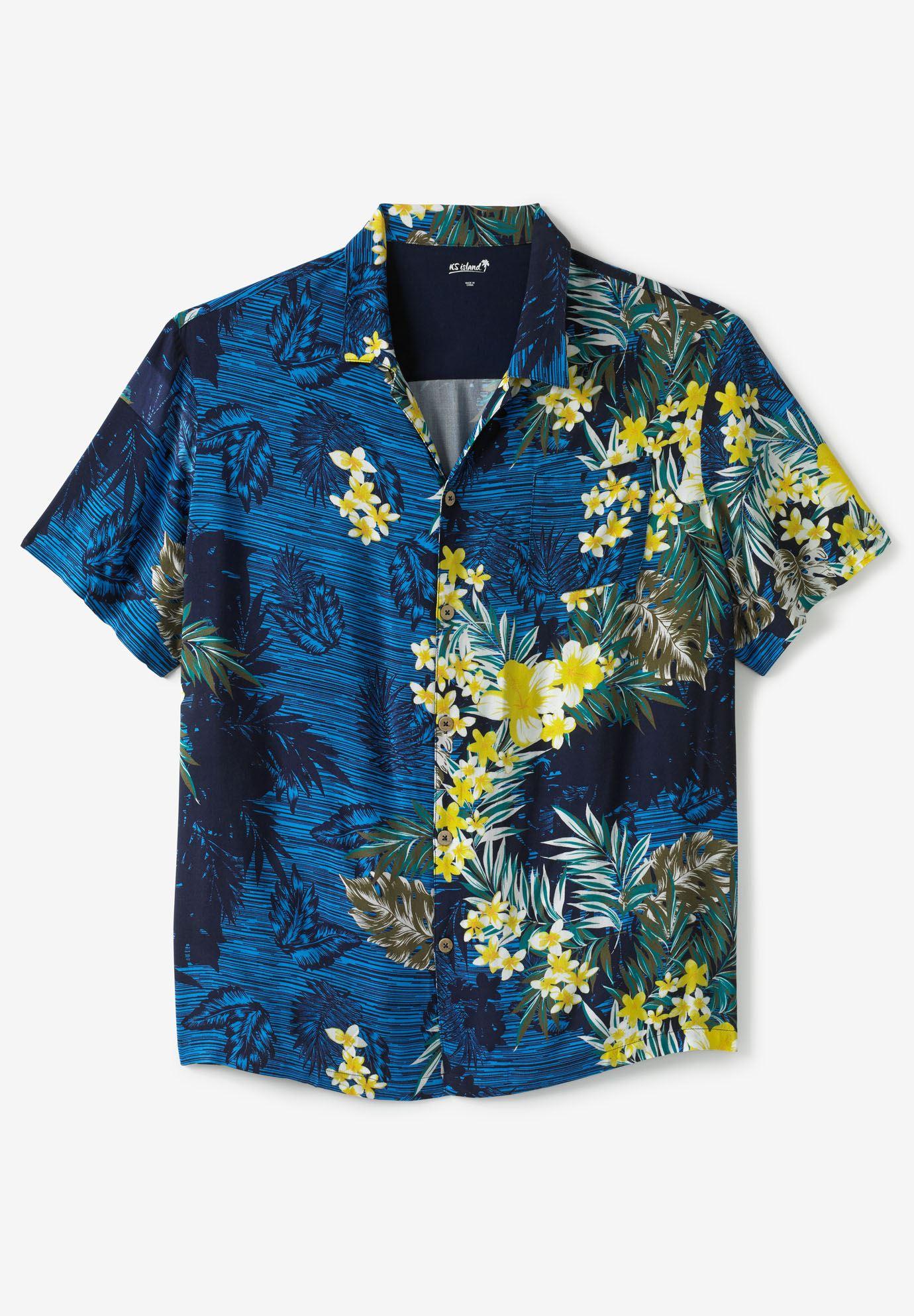 Tropical Caribbean Print Shirt By Ks Island Plus Size