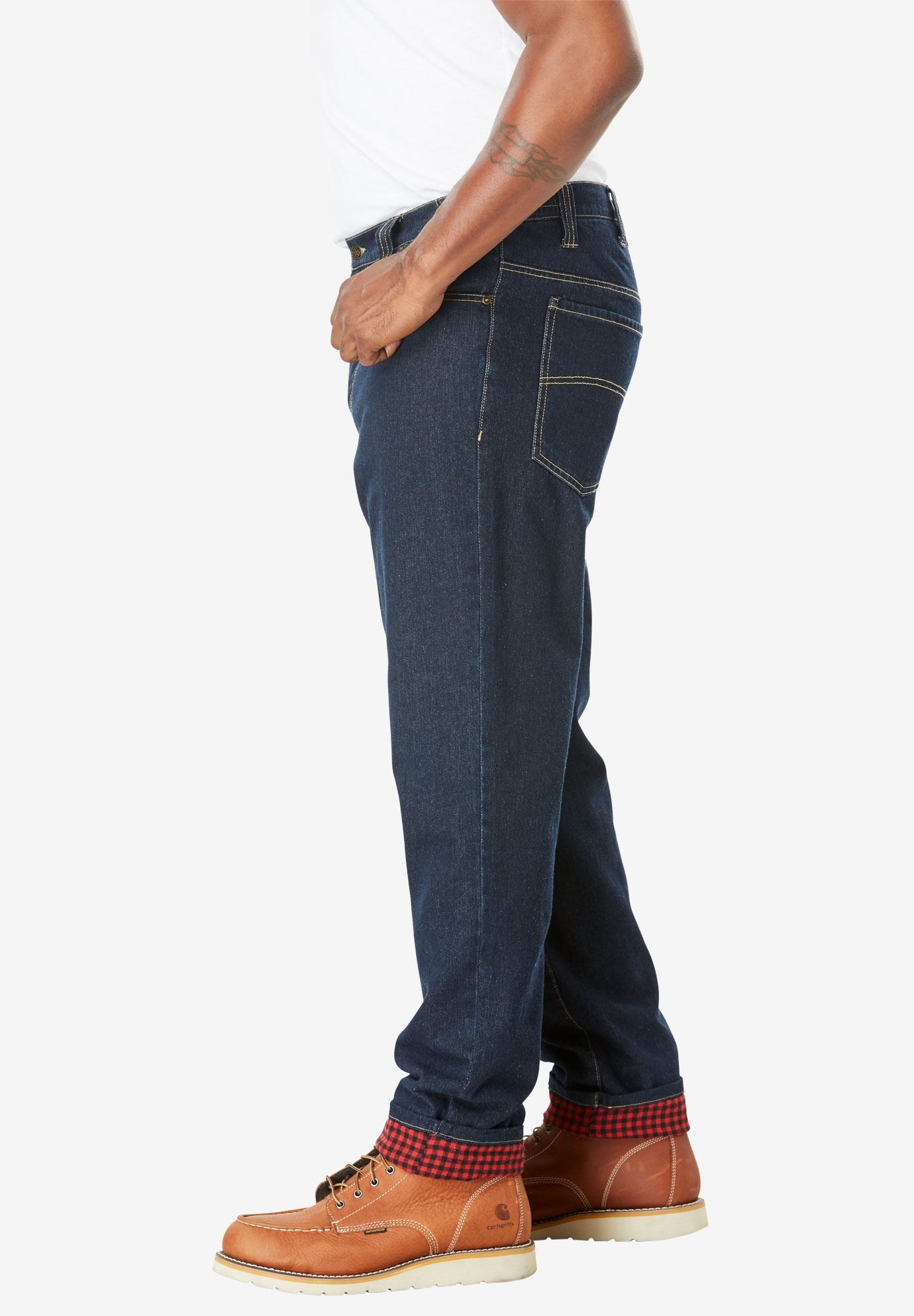 Flannel Lined Side-Elastic Jeans,
