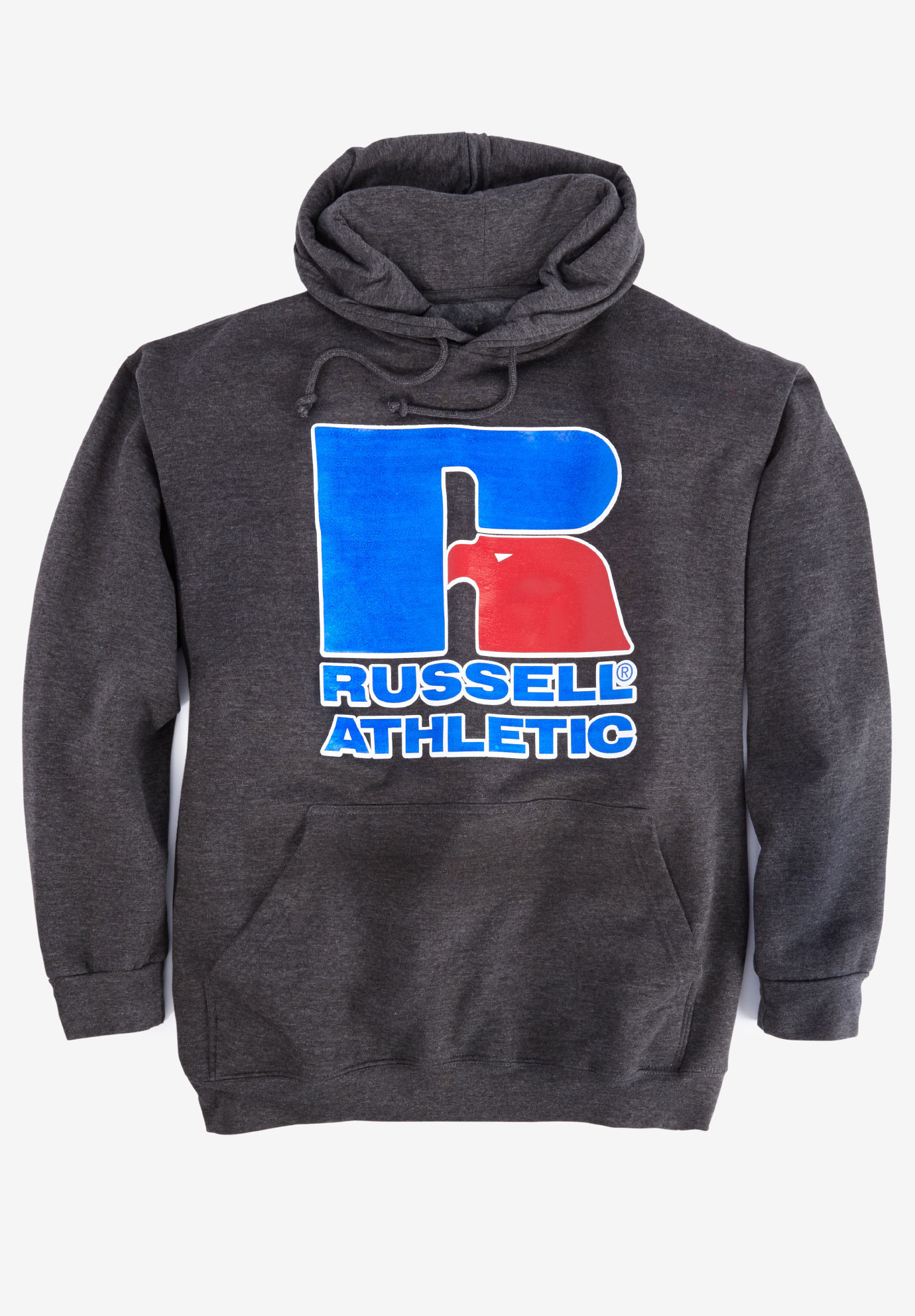 Large Logo Hoodie by Russell Athletic®, HEATHER CHARCOAL, hi-res