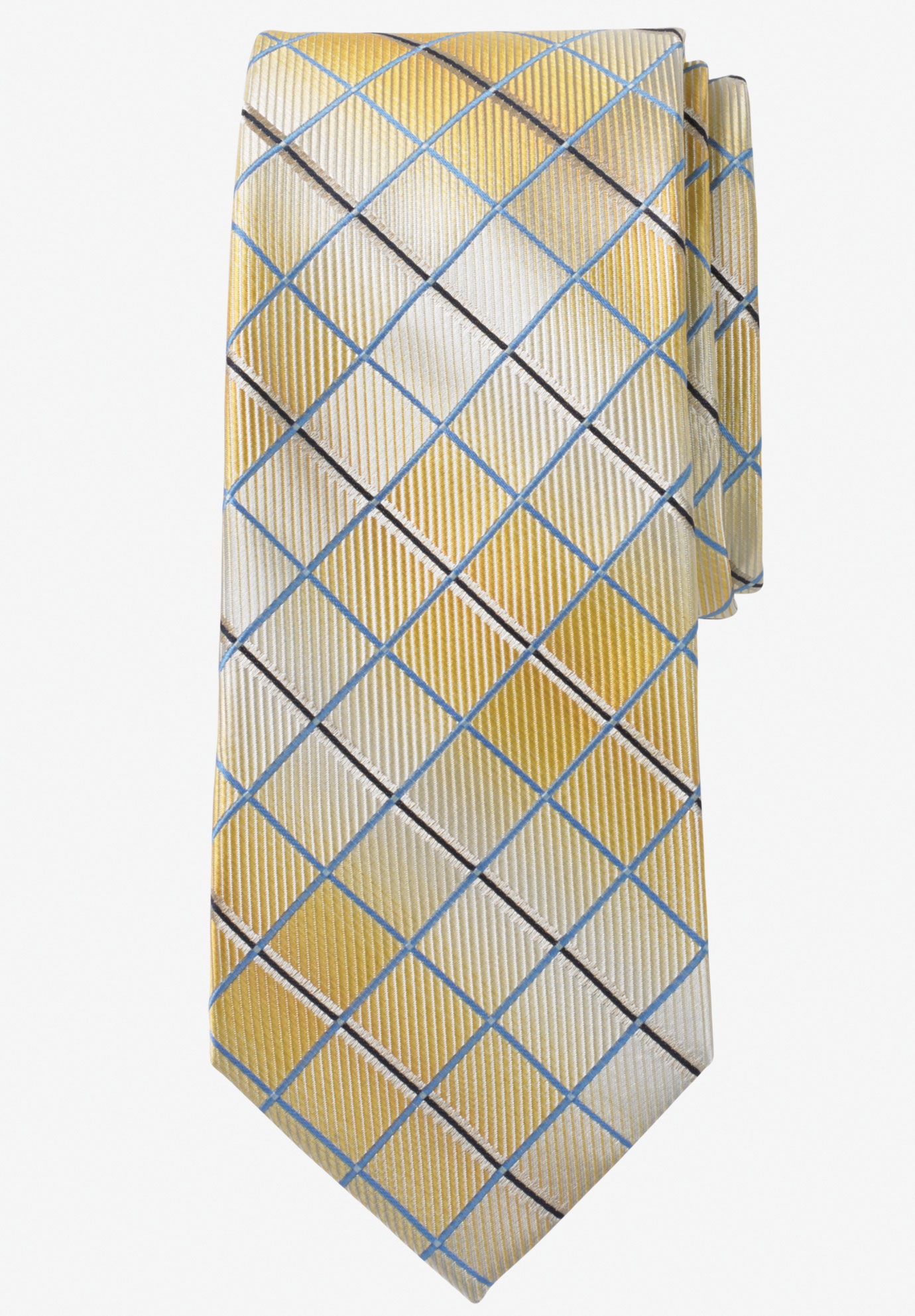 Extra Long Check Tie by KS Signature, GOLD CHECK
