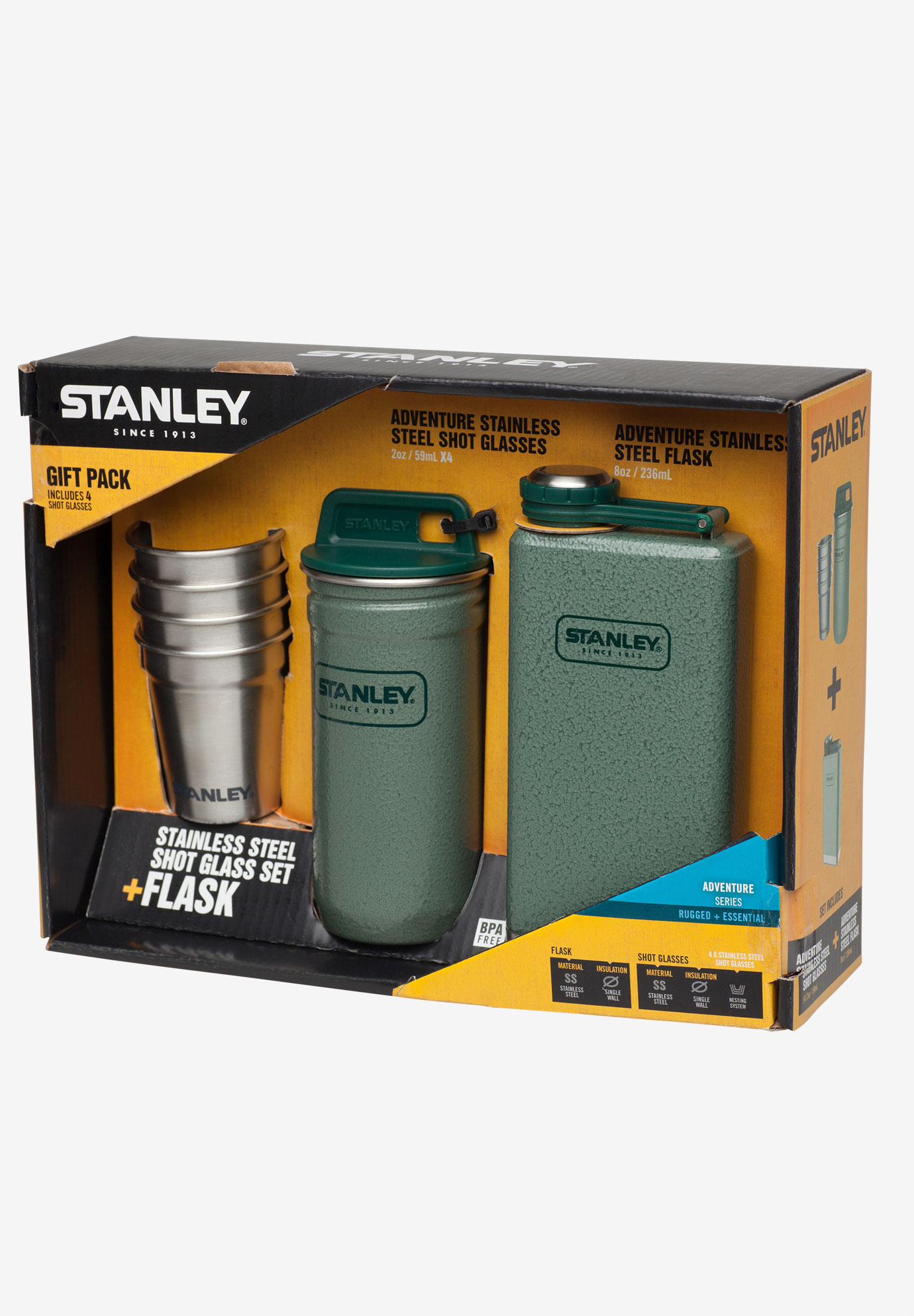 Adventure Shot and Flask Gift Set by Stanley®, HAMMERTONE GREEN