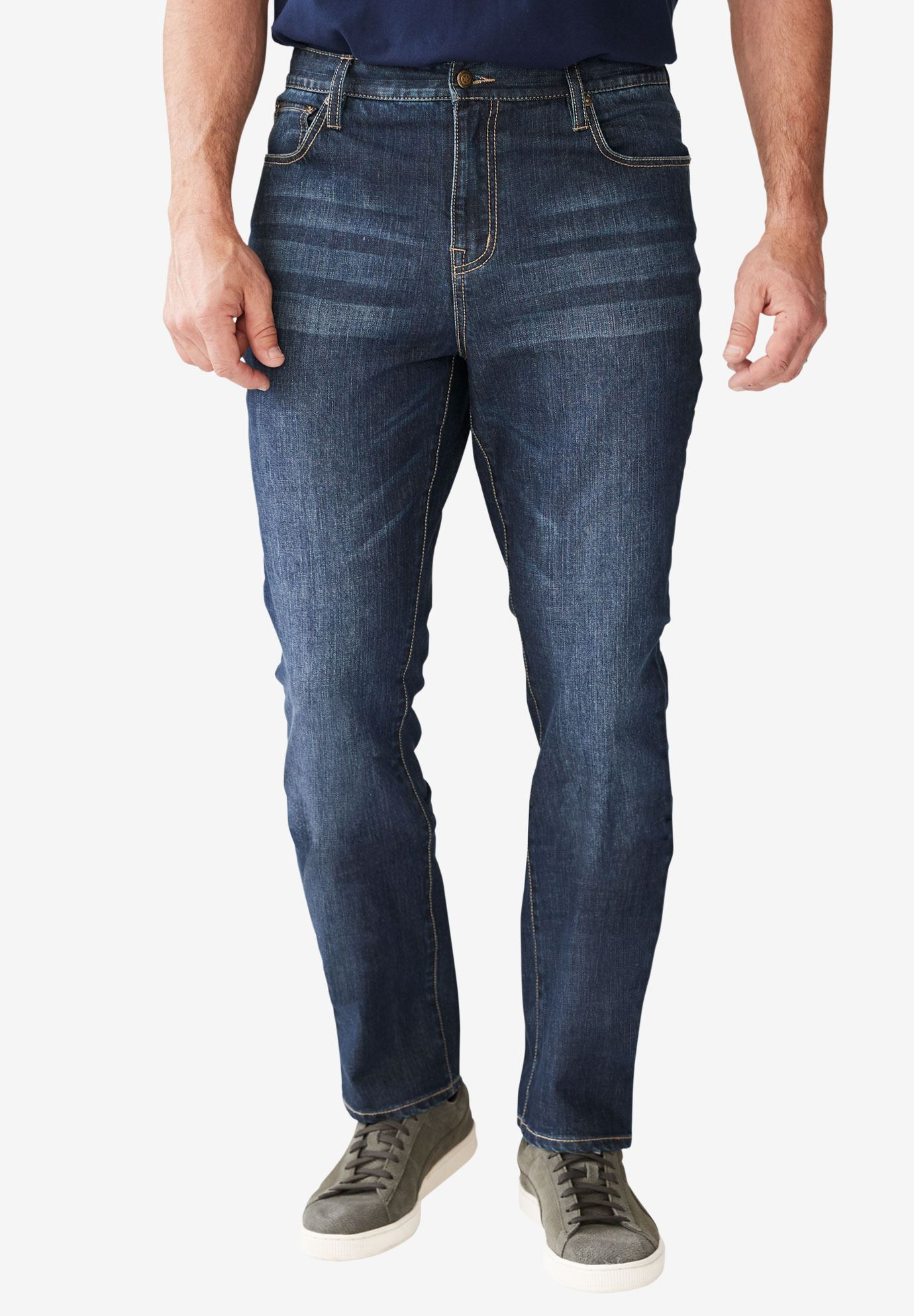 Straight Fit 5-Pocket Stretch Jeans by Liberty Blues®,