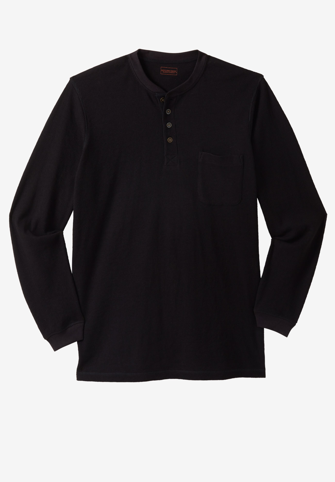 Easy-Care Pocket Longer-Length Henley by Boulder Creek®,