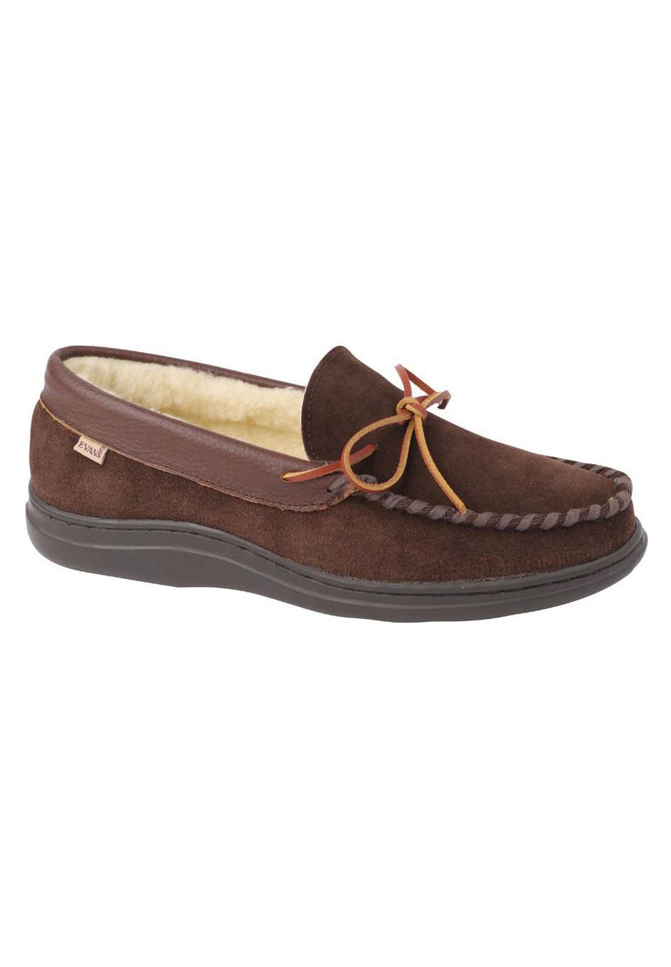 L.B. Evans Atlin Boa Lined Moccasin Slippers,