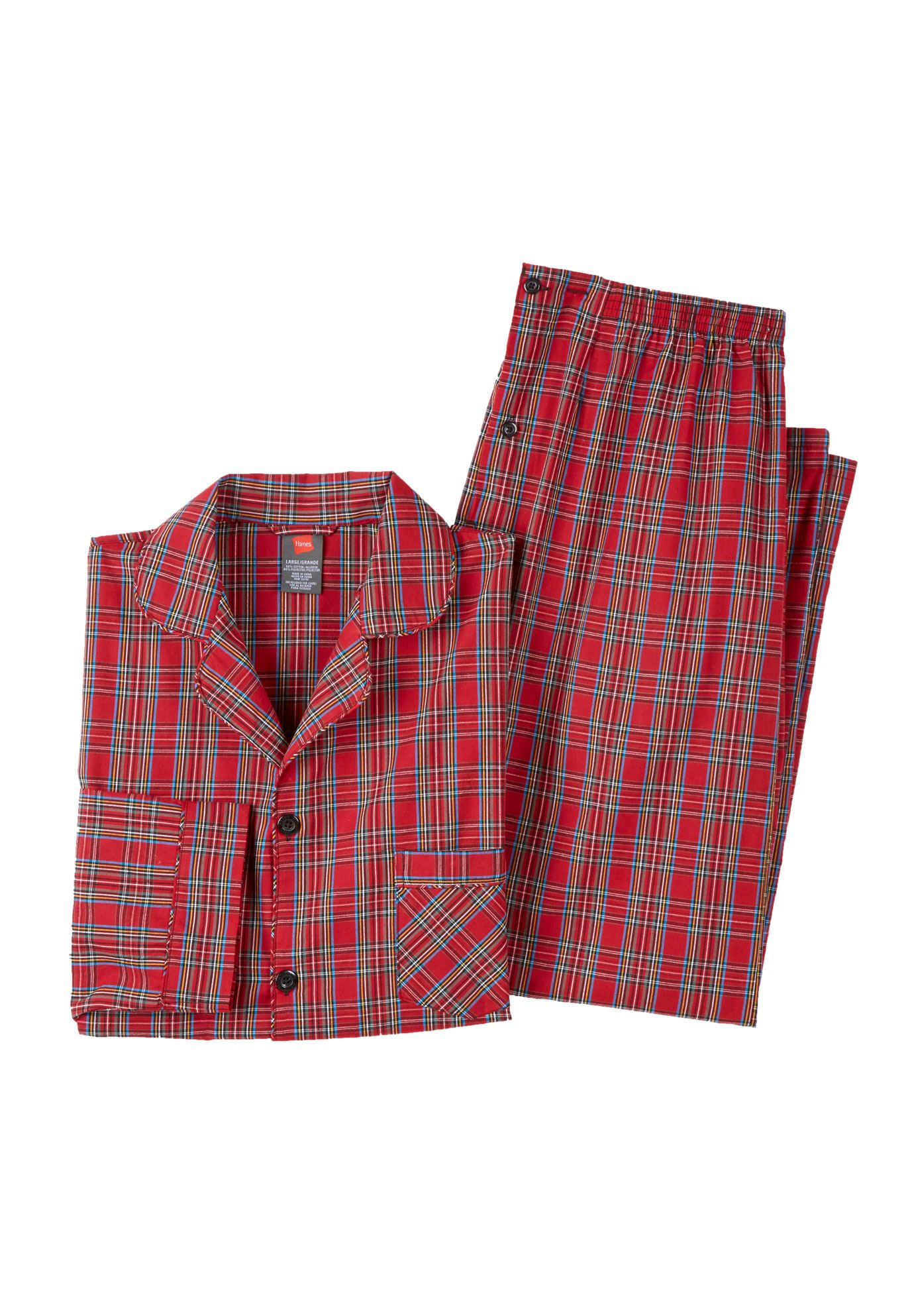 Hanes® Woven Pajamas, RED PLAID, hi-res