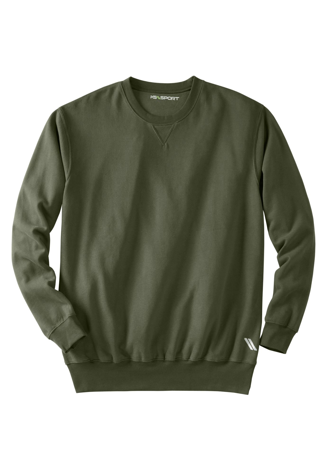 Wicking Fleece Crewneck by KS Sport™, OLIVE, hi-res